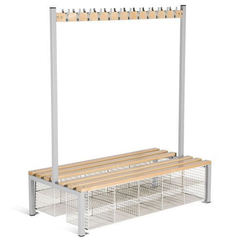 Locker Double Sided 12 Hook Bench Seat With Baskets