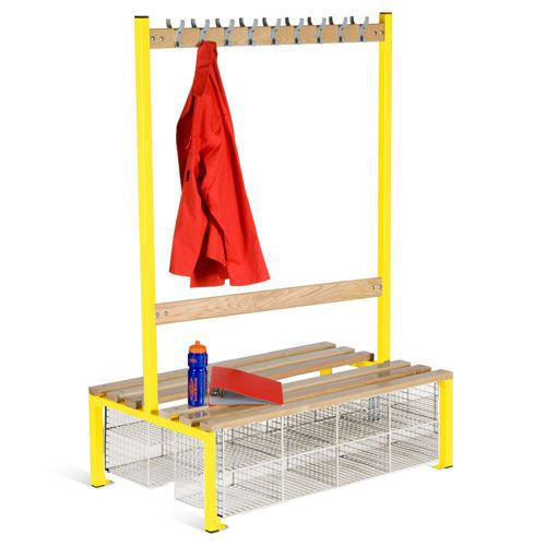 School Double Sided 9 Hook Bench Seat With Baskets
