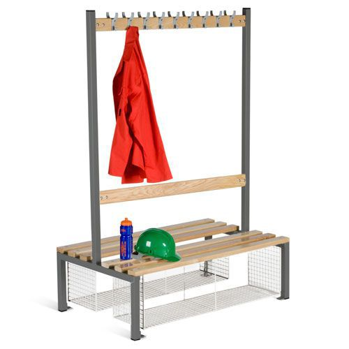 School Double Sided 9 Hook Bench Seat With Shoe Tray