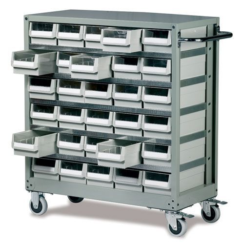 Small Parts Container Trolley - 30 Drawers