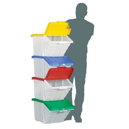 50L Containers with Coloured Lids - Pack of 4