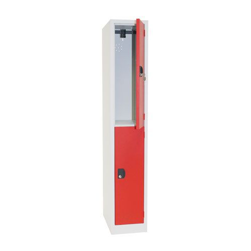 Manutan Two Door Red Locker - 1800x315x500mm