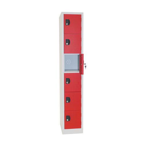 Manutan Six Door Red Locker - 1800x315x500mm
