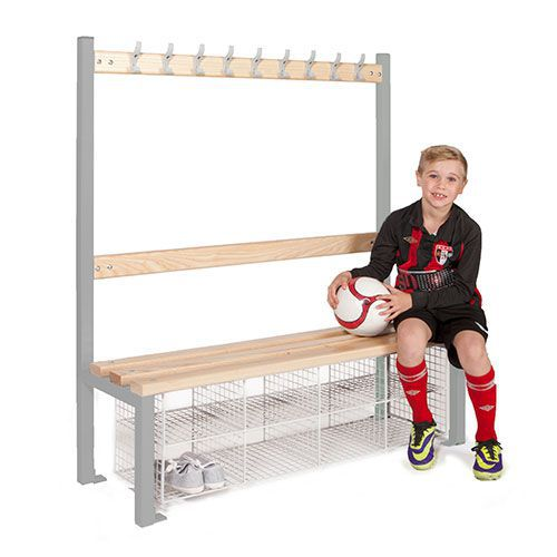 School Single Sided 9 Hook Bench Seat With Baskets