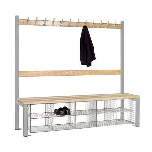 School Single Sided 12 Hook Bench Seat With Baskets
