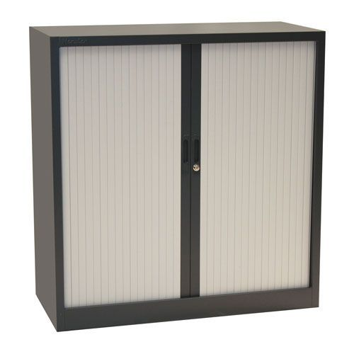 Manutan Dark Grey Tambour Door Cupboard - 1050x1000x450mm