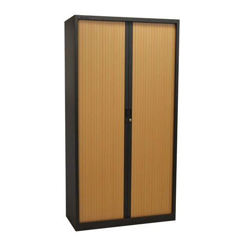 Tall Dark Grey Tambour Door Cupboard -1950x1000x450mm