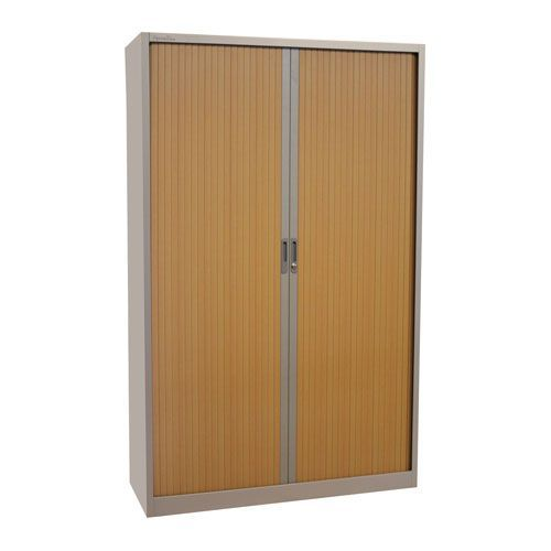 Manutan Tambour Door Cupboard - Grey - 1950x1200x450mm