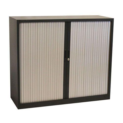 Manutan Dark Grey Tambour Door Cupboard - 1050x1200x450mm