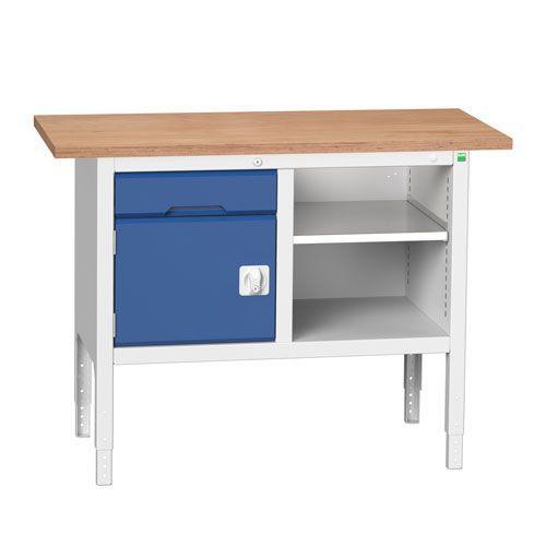Bott Verso Adjustable Workbench With Shelf & Drawer 830-930x1250x600mm