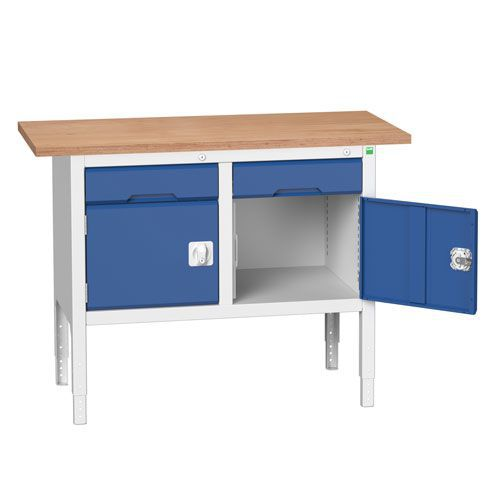 Bott Verso Adjustable Workbench With Cabinet & Drawer 830-930x1250x600mm