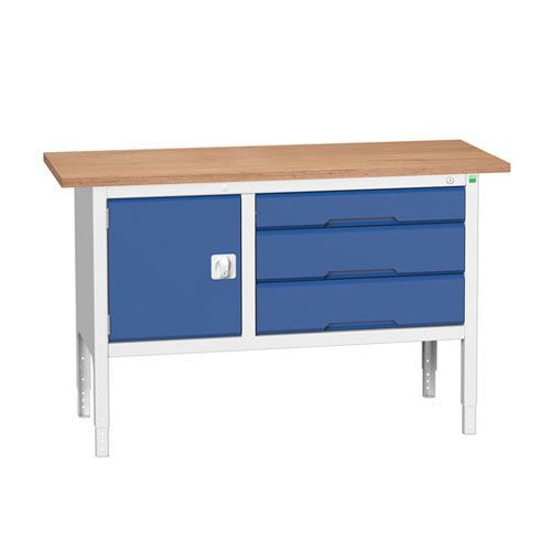 Bott Verso Adjustable Workbench With Cabinet & Drawers 830-930x1500x600mm