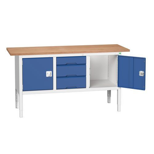 Bott Verso Adjustable Workbench With Drawer & Cabinet 830-930x1750x600mm