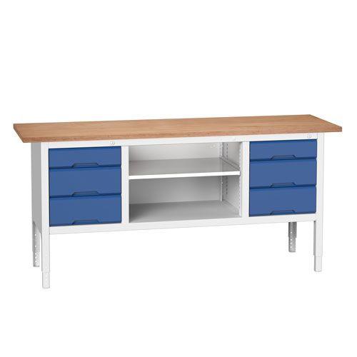 Bott Verso Adjustable Workbench Drawers & Shelves 830-930x2000x600mm