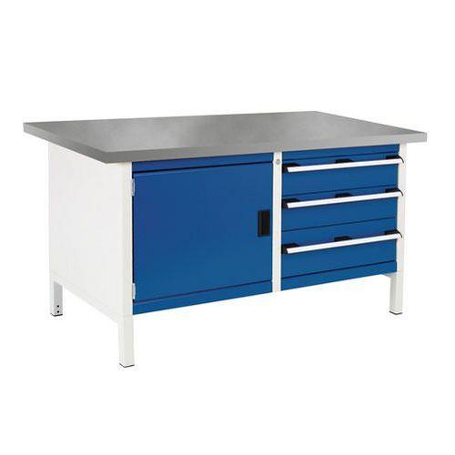 Bott Cubio Heavy Duty Workbench With Lino Top Shelf and Cabinet 840x1500x750mm