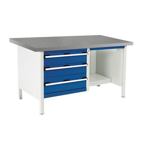 Bott Cubio Heavy Duty Workbench With Lino Top Shelves & Drawers 840x1500x750mm