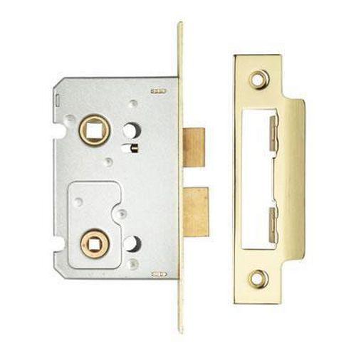 Bathroom Lock - 65mm Case - 44mm Backset - Electro Brass