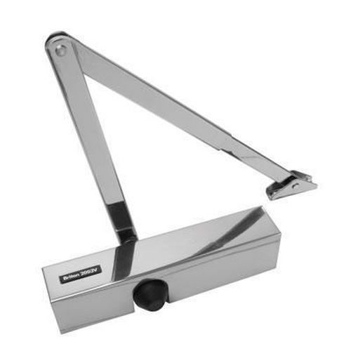 Briton 2003V Door Closer - Polished Stainless Arm/Cover