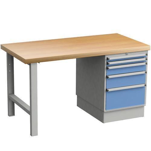 Heavy Duty Workbench with 5 Drawer Pedestal