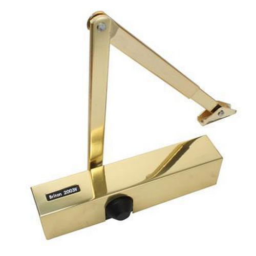 Briton 2003V Door Closer - Polished Brass Arm/Cover