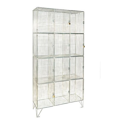 Wire Mesh Lockers 12 Compartments with Doors - 1370x910x457mm