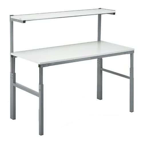 Height Adjustable Ergonomic Workbench With Upper Shelf Height 650-900mm