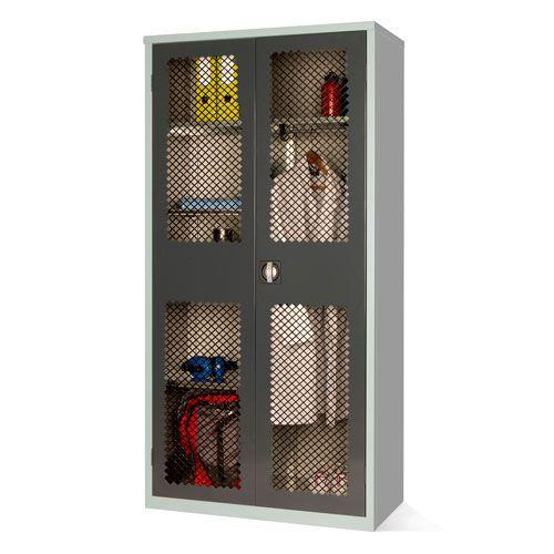 Mesh Door Cabinet 4 Shelves and Rail - 1830x915x457mm