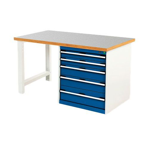 Bott Cubio Heavy Duty Workbench With Lino Worktop & Drawers HxWxD 840x1500x900mm