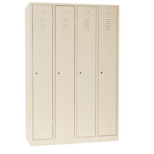 Storage Lockers Nest of 4 Beige with Plinth - Cylinder Lock - 1800x1170x500mm