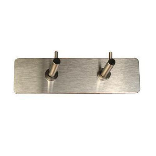 Contemporary 2 Hooks on Plate - Satin Stainless Steel