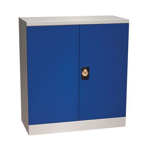 Manutan Flat Pack Cupboard with Louvre Panels - Blue