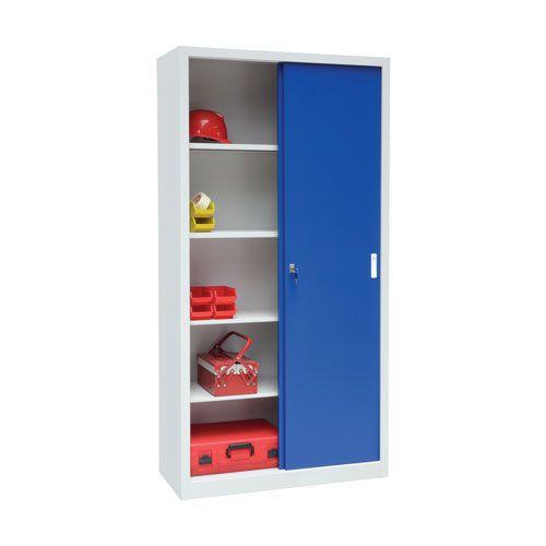 Manutan Tall Sliding Door Cupboard - 2000x1000x650mm