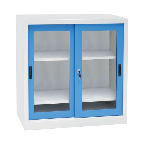Manutan Sliding Vision Door Cupboard - 1000x1000x450mm