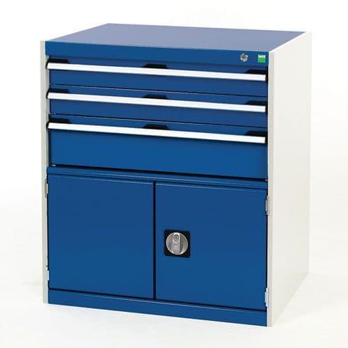 Bott Cubio Combi Cabinet Perfo Doors 1 Shelf And 3 Drawers 900x800x650