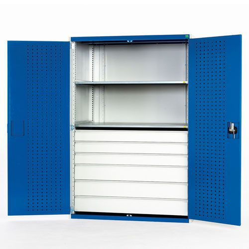 Bott Cubio Heavy Duty Kitted 6 Drawer 2 Shelf Tool Cupboard 2000x1300x650mm