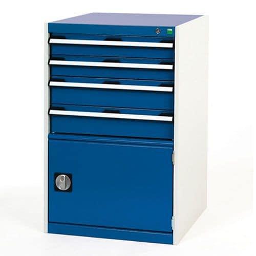 Bott Cubio Combi Cabinet Perfo Door 1 Shelf And 4 Drawers 1000x650x750