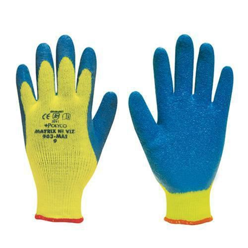 Hi Viz Thermal Latex Grip Gloves - Pack of 12