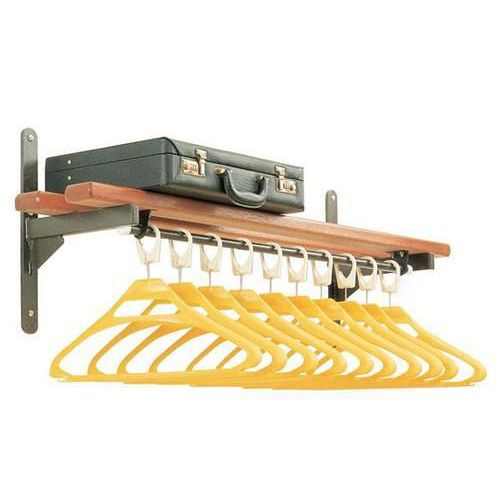 Garment Rail with Slatted Shelf & Under Rail