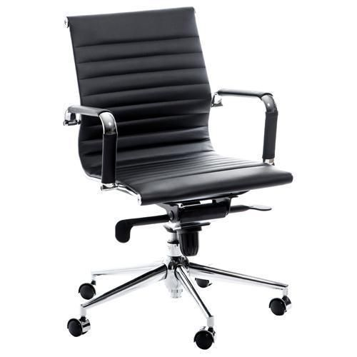 Swale Mid Back Black Leather Office Chair