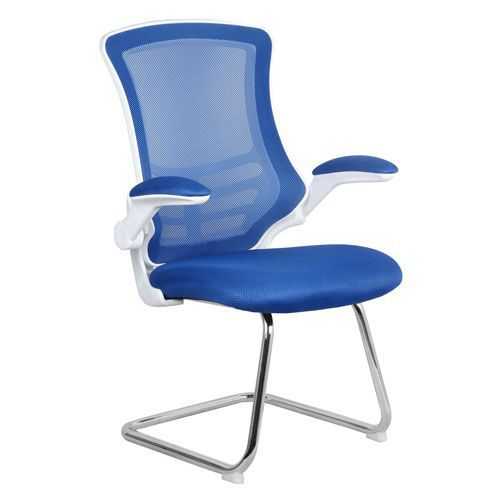 Luna White Shell Chrome Frame Cantilever Mesh Chair