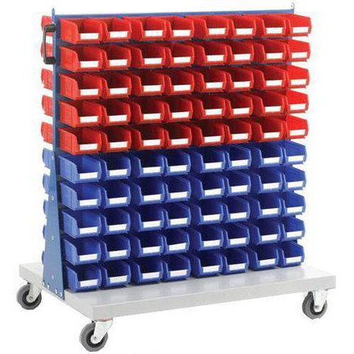 Double Sided Louvre Panel Trolley with Bins