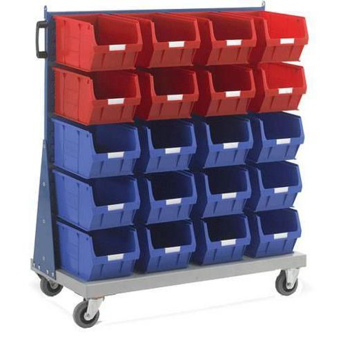 Single Sided Louvre Panel Trolley with Bins