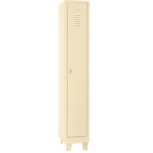 Single Locker Beige with Feet & Hasp Lock - 1900x315x500mm