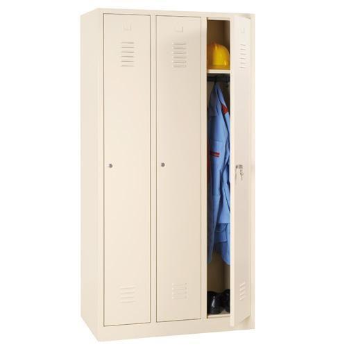 Storage Lockers - 3 Nest with Plinth Beige Body & Cylinder Lock - 1800x885x500mm
