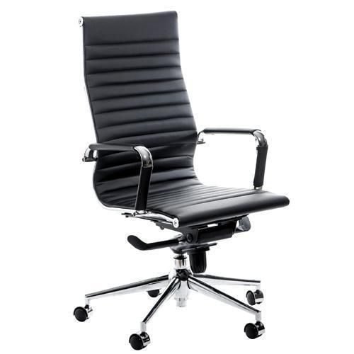 Swale High Back Black Leather Office Chair