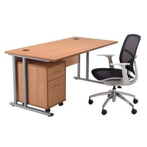 Office in a Box - Desk + Pedestal & Chair Bundle