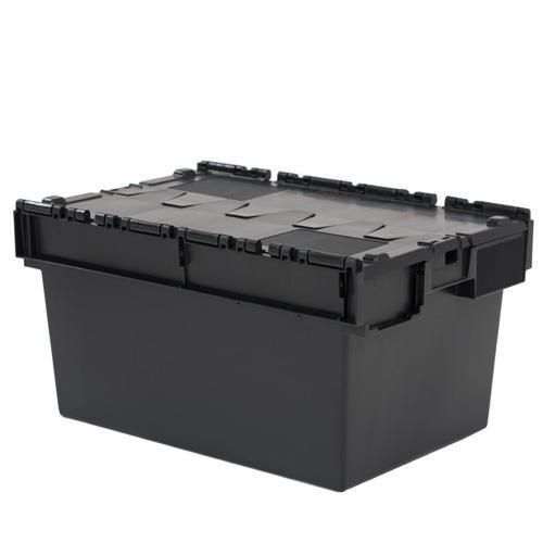 Tote Box Attached Lid Container Black 54l To 80l Manutan Uk
