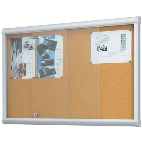 Indoor Enclosed Cork Bulletin Board Security Glass Door Manutan Uk