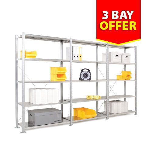 3 Steel Shelving Bay Offer (2000h) - 1 Starter & 2 Add-on Bays