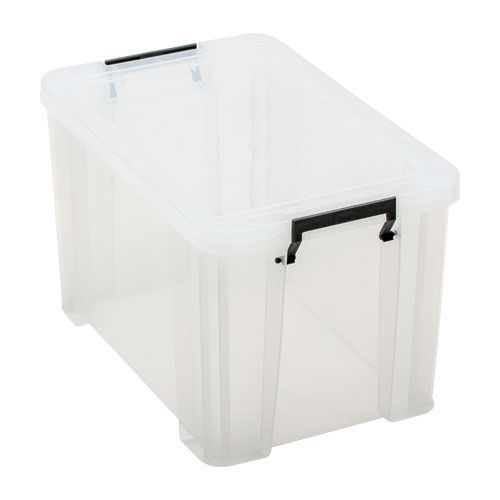Manutan 26L Box Clear with Grey Handles